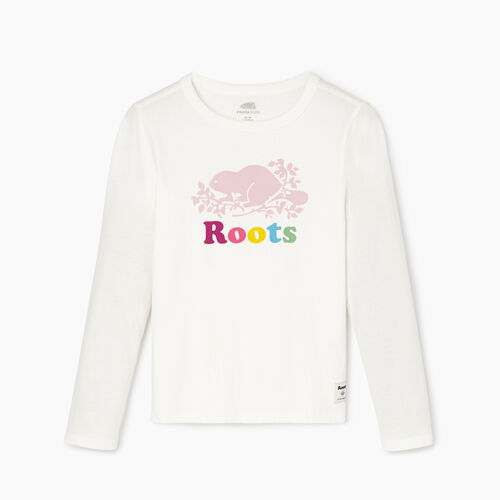 Roots-Kids Girls-Girls Original Cooper Beaver T-shirt-Ivory-A