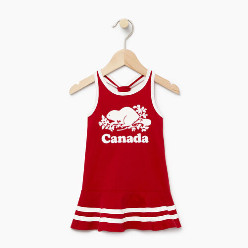 Roots-Clearance Kids-Baby Canada Tank Dress-Sage Red-A