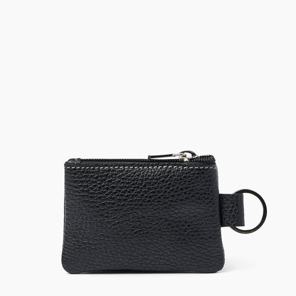 Roots-Women Leather Accessories-Top Zip Key Pouch-Black-A
