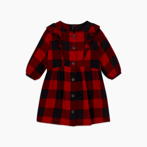 Roots-New For November Kids-Toddler Park Plaid Flannel Dress-Cabin Red-A