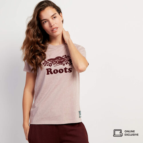 Roots-Women Graphic T-shirts-Womens Northlands Cooper T-shirt-Twilight Mauve Mix-A