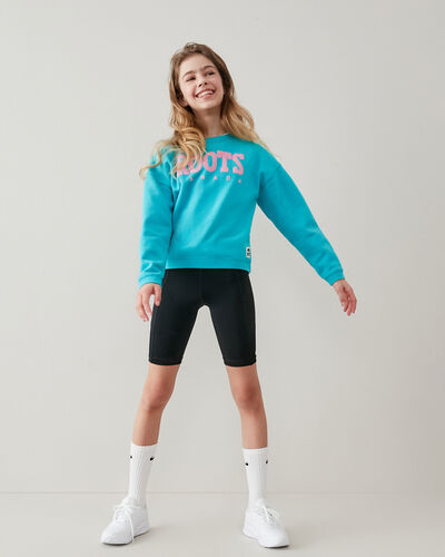 Roots-Sweats Girls-Girls Retro Sweatshirt-Peacock Blue-A