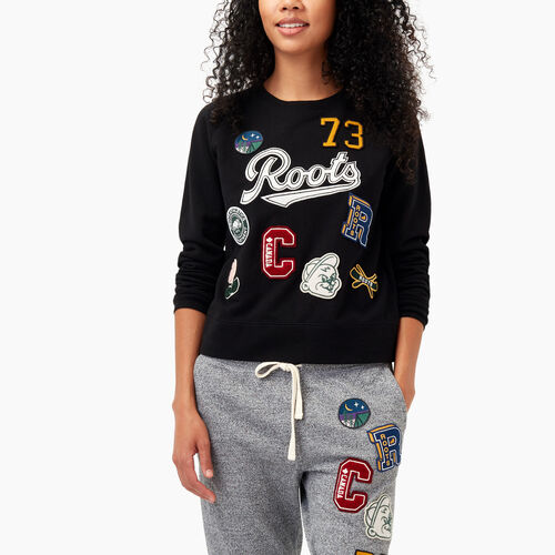 Roots-Winter Sale Sweats-Varsity Roots Patches Crew Sweatshirt-Black-A