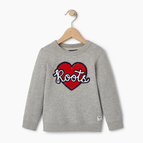 Roots-Kids Our Favourite New Arrivals-Toddler Heart Patch Sweatshirt-Grey Mix-A