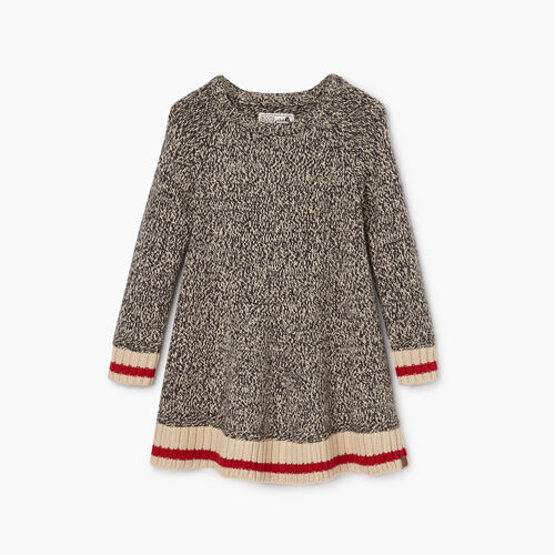Roots-Kids Dresses-Toddler Roots Cabin Dress-Grey Oat Mix-A