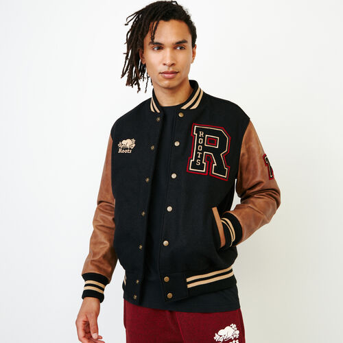 Roots-Leather Award Jackets-Roots Script Award Jacket-Black-A