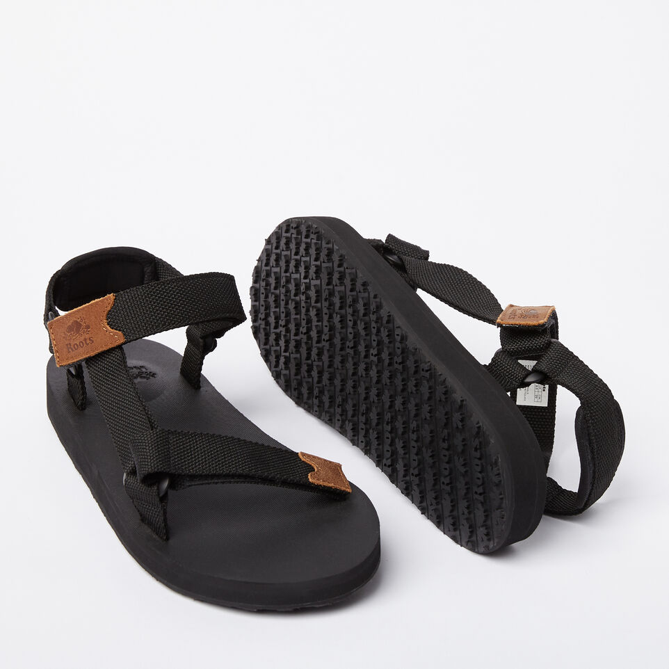 Roots-Clearance Footwear-Mens Tofino Sandal Web-Black-E