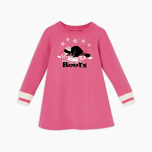 Roots-Kids Toddler Girls-Toddler Buddy Cozy Dress-Carmine Rose-A