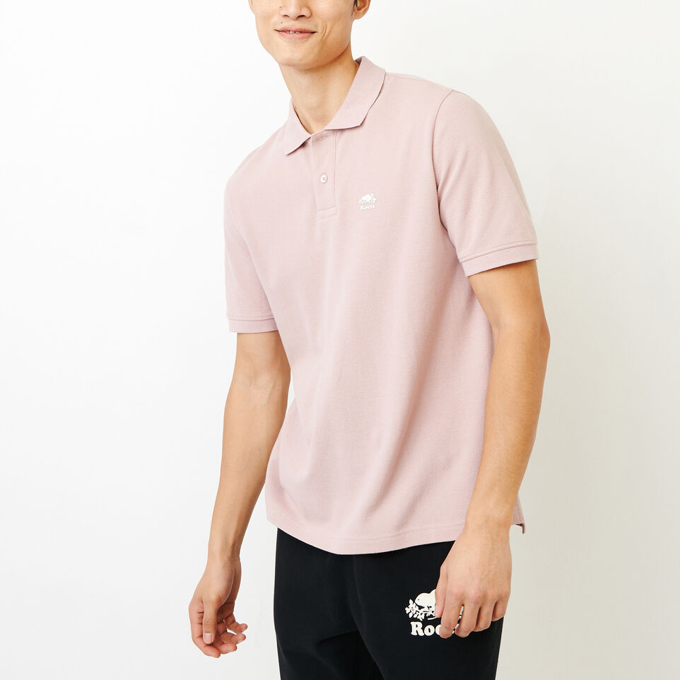 Roots-Men Categories-Heritage Pique Polo-Burnished Lilac-A