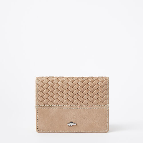Roots-Women Wallets-Small Fold Over Wallet Woven-Sand-A