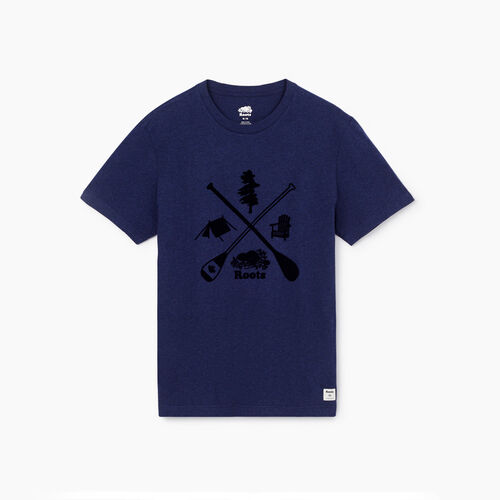 Roots-Men New Arrivals-Mens Roots Camping T-shirt-Navy Blazer Mix-A