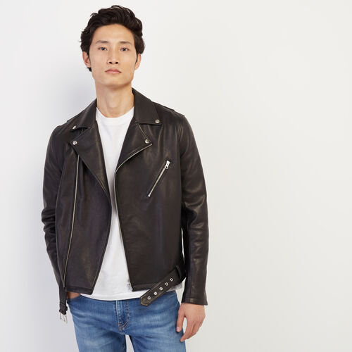 Roots-Leather Leather Jackets-Mens Moto Jacket Lamba-Black-A