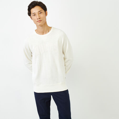 Roots-Men Our Favourite New Arrivals-50s Freedom Sleeve Crew Sweatshirt-Ivory-A