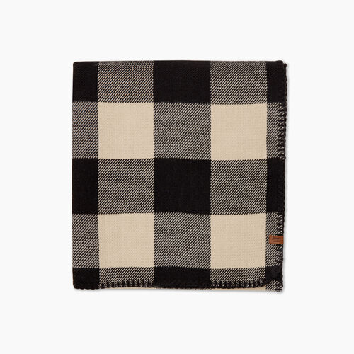 Roots-New For October Plaids-Park Plaid Scarf-Flaxseed Mix-A