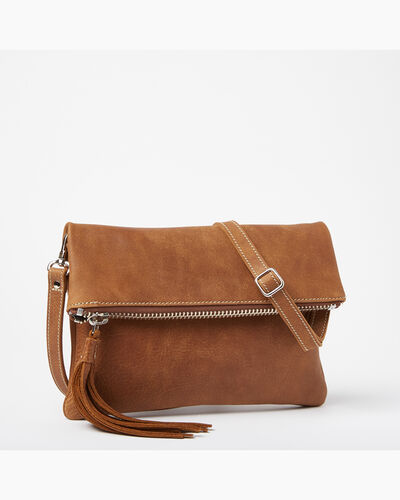 Roots-Women Crossbody-Anna Clutch Tribe-Natural-A