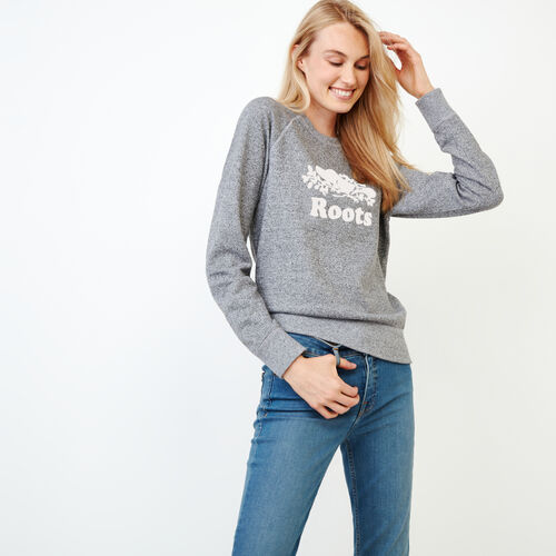 Roots-Women Categories-Original Crew Sweatshirt-Salt & Pepper-A