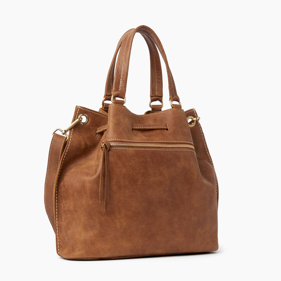 Roots-Leather Shoulder Bags-Hailee Drawstring Bag Tribe-Natural-C