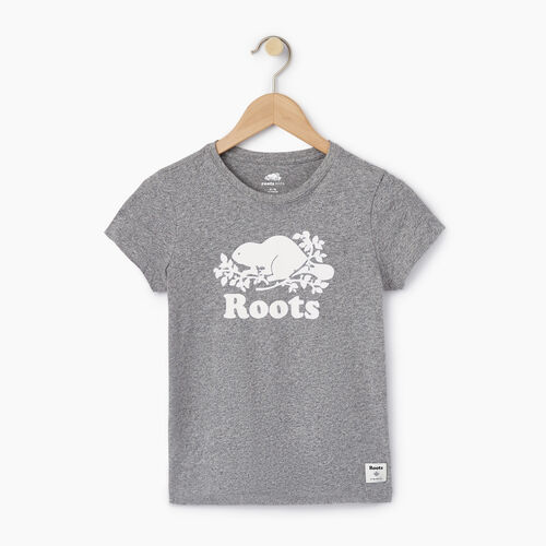 Roots-Kids Categories-Girls Original Cooper Beaver T-shirt-Salt & Pepper-A