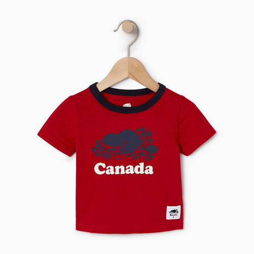 Roots-Kids Canada Collection-Baby Cooper Canada Ringer T-shirt-Sage Red-A