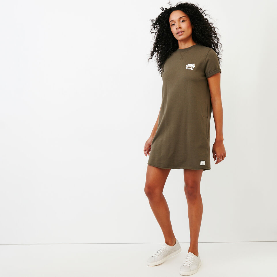 Roots-Women Clothing-Edith Cuffed Dress-Fatigue-A
