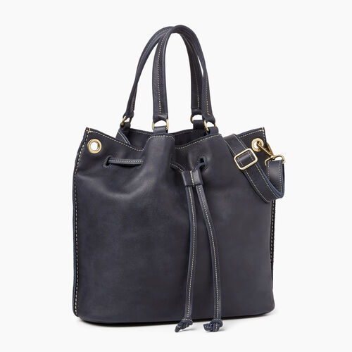Roots-Leather  Handcrafted By Us Tribe Leather-Hailee Drawstring Bag Tribe-Dark Navy-A