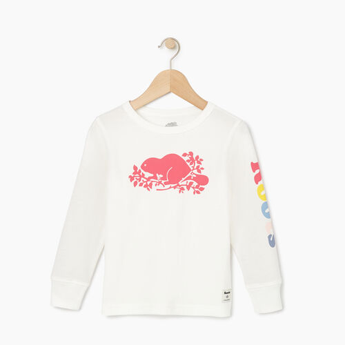 Roots-Kids Tops-Toddler Roots Remix T-shirt-Ivory-A