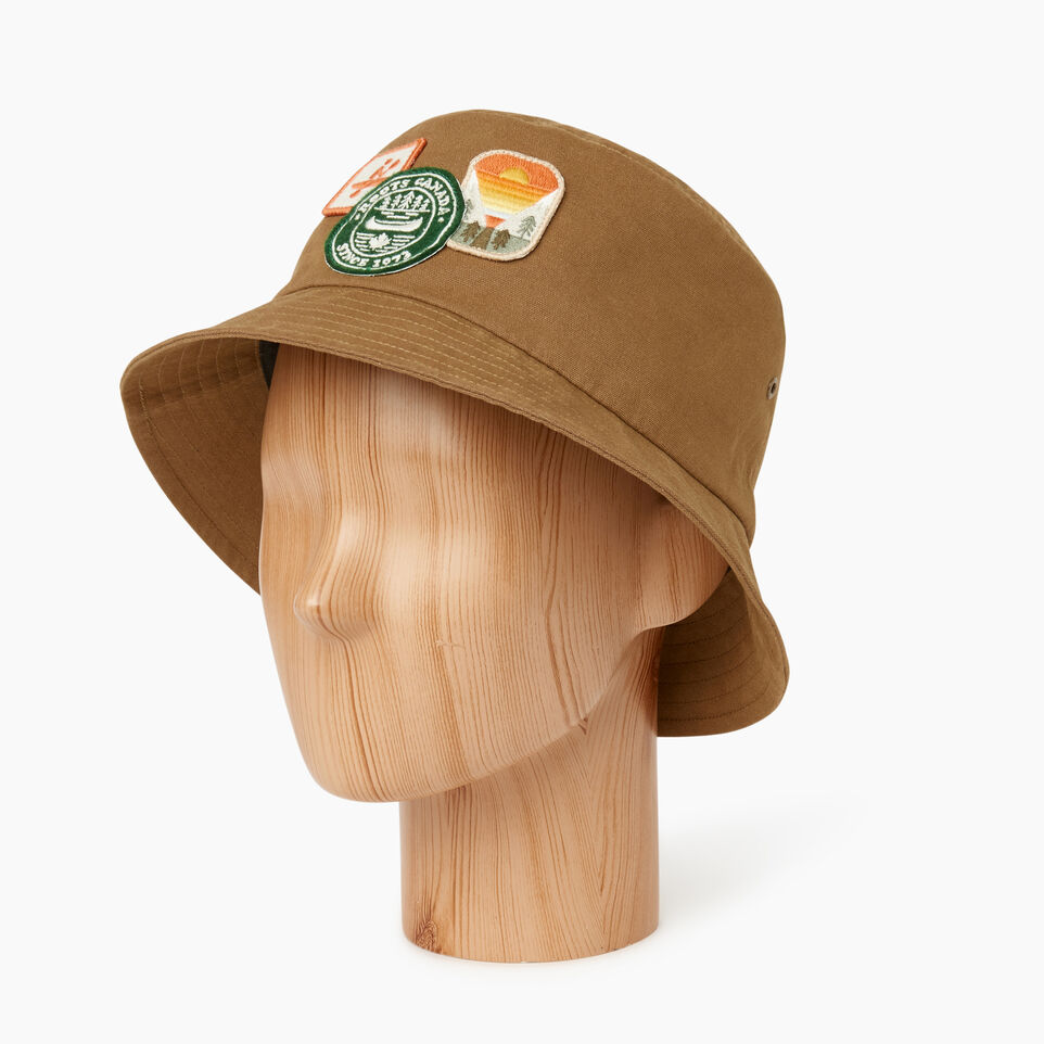 Roots-Men Our Favourite New Arrivals-Badges Bucket Hat-Tan-B