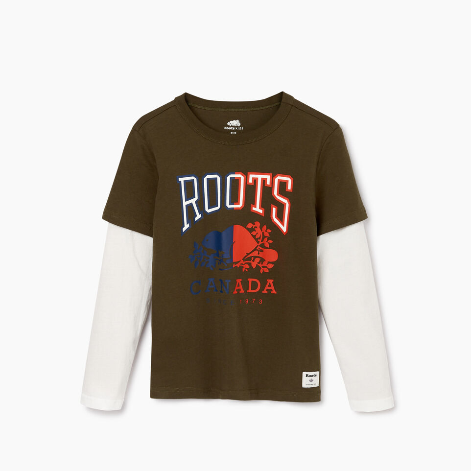 Roots-Sale Kids-Boys Roots Classic T-shirt-Fatigue-B