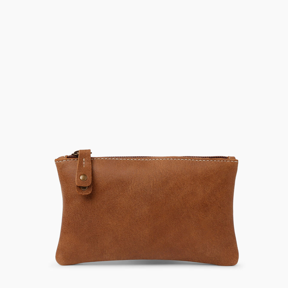 Roots-Women Leather Accessories-Medium Zip Pouch-Natural-A
