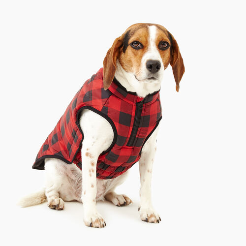 Roots-New For November Men-Pooch Park Plaid Puffer Size 18-Red-A