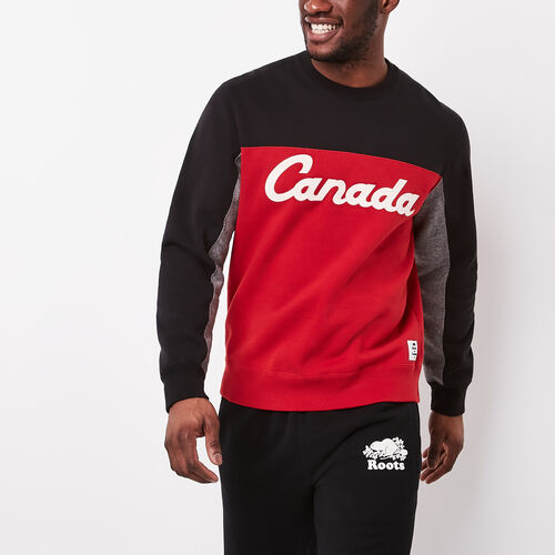 Roots-Men Canada Collection By Roots™-Canada Script Crew Sweatshirt-Black-A