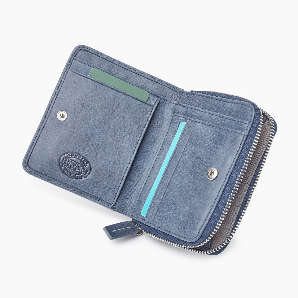 Roots-Leather New Arrivals-Small Zip Wallet Tribe-Navy-C