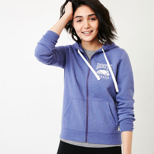 Roots-Women Bestsellers-Classic Full Zip Hoody-Violet Storm Mix-A
