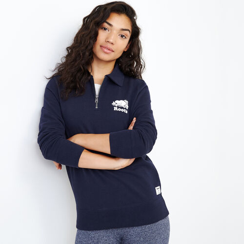 Roots-Women Sweats-Original Zip Polo-Navy Blazer-A