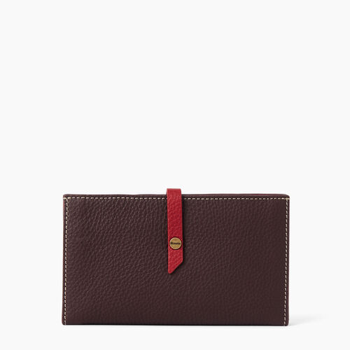 Roots-Leather  Handcrafted By Us Wallets-Stella Travel Wallet-Raspberry Wine-A