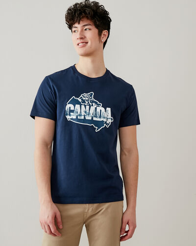 Roots-Men Graphic T-shirts-Mens Map Of Canada T-shirt-Navy Blazer-A