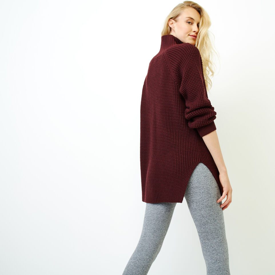 Roots-Women Sweaters & Cardigans-Fraser Waffle Sweater-Crimson Mix-D