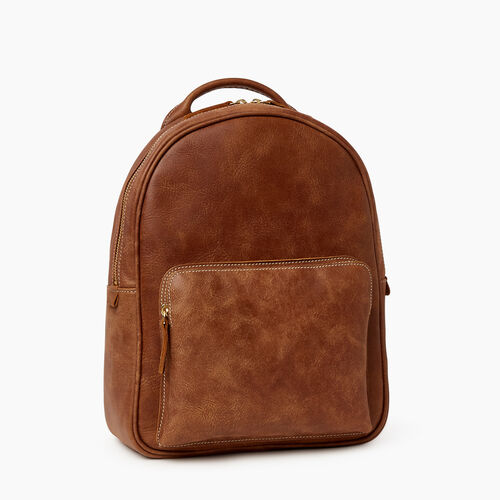 Roots-Leather  Handcrafted By Us Backpacks-Chelsea Pack Tribe-Natural-A