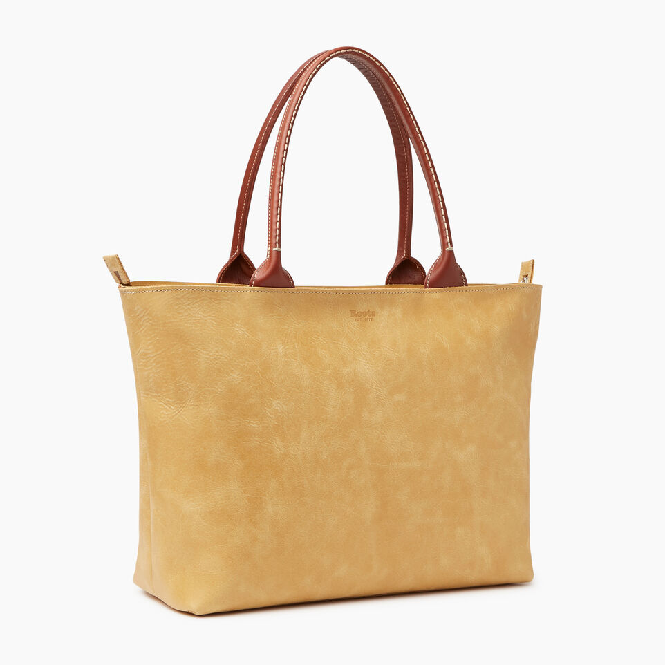Roots-Leather Our Favourite New Arrivals-Mont Royal Tote-Medallion/oak-A