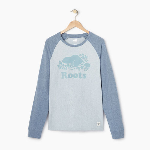 Roots-Men Our Favourite New Arrivals-Mens Cooper Raglan Long Sleeve  T-shirt-Celestial Blue Mix-A