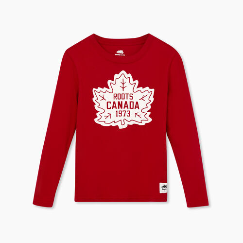 Roots-Kids Boys-Boy Canada T-shirt-Sage Red-A
