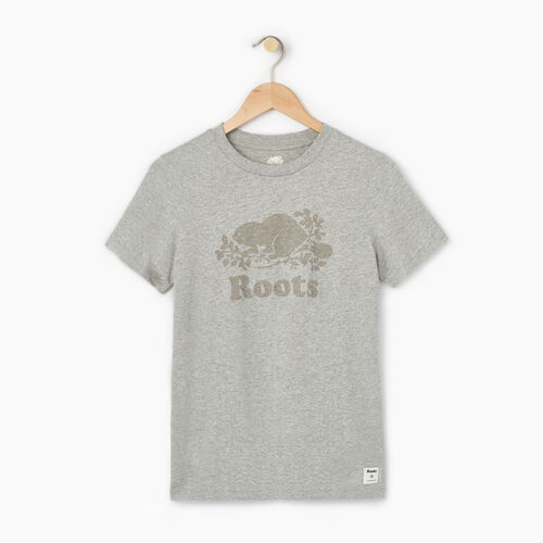 Roots-Women Graphic T-shirts-Womens Cooper Beaver T-shirt-Grey Mix-A