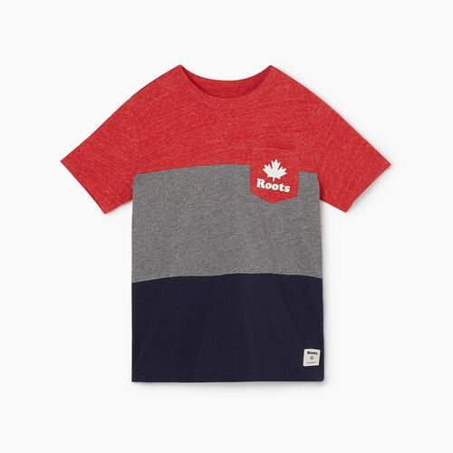 Roots-Kids New Arrivals-Boys Colourblock T-Shirt-Sage Red Mix-A