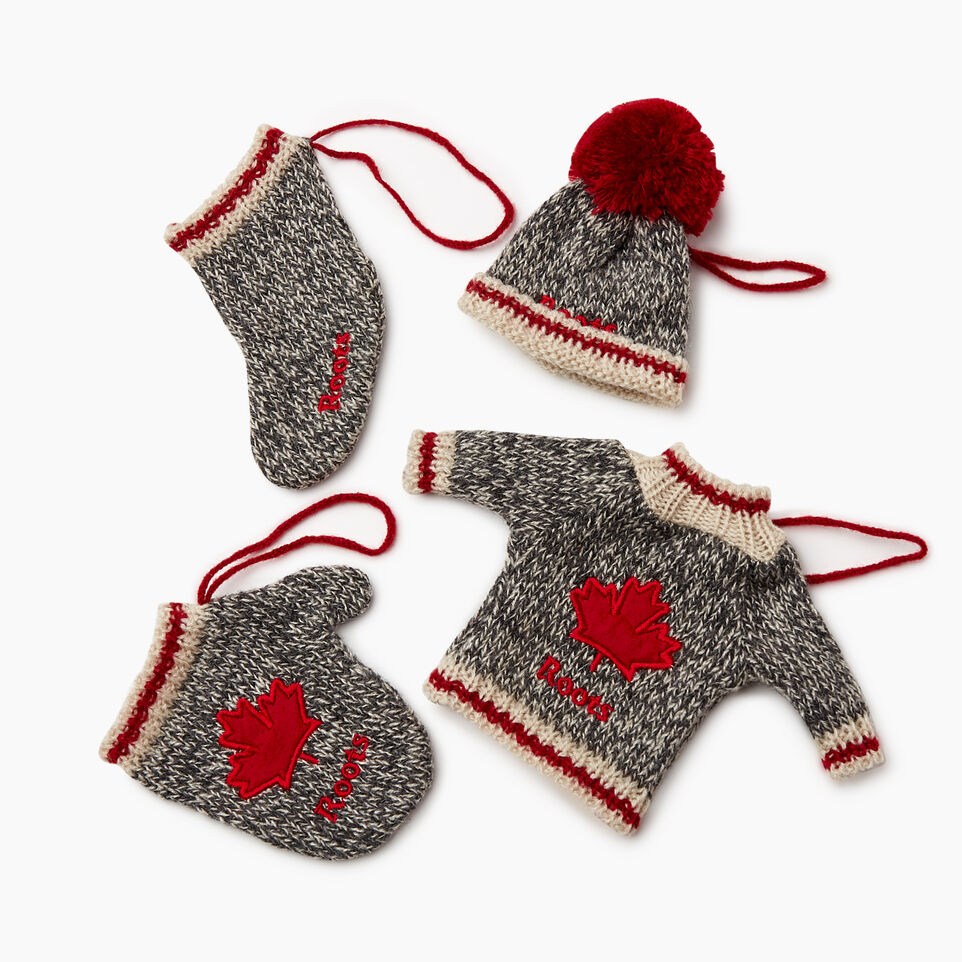 Roots-Women General Store-Roots Cabin Ornaments 4 Piece Set-Grey Oat Mix-B