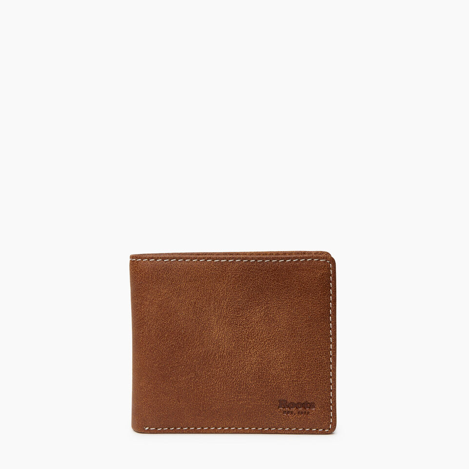 Roots-Leather Wallets-Mens Slimfold Wallet With Side Flap-Natural-A