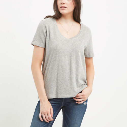 Roots-Sale Women-Ruby V Neck Top-Grey Mix-A