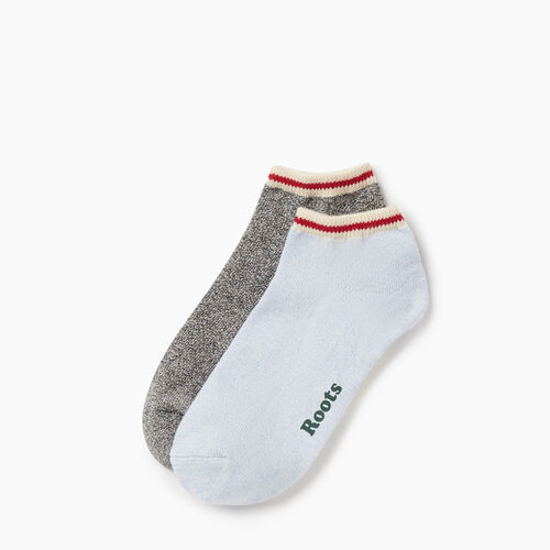 Roots-Women Socks-Womens Cotton Cabin Ped Sock 2 pack-Blue-A