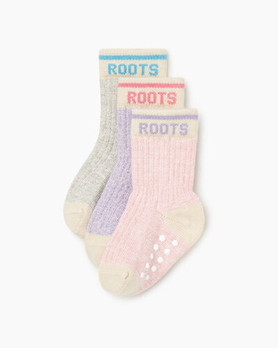 Roots-Kids Toddler Girls-Toddler Cabin Sock 3 Pack-Pale Mauve Mix-A