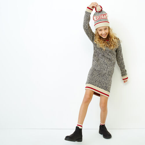 Roots-Kids Our Favourite New Arrivals-Girls Roots Cabin Sweater Dress-Grey Oat Mix-A