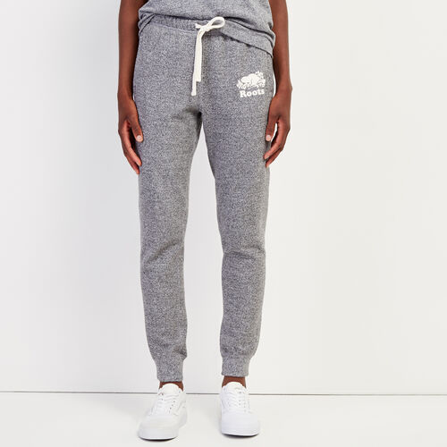 Roots-Women Slim Sweatpants-Original Slim Cuff Sweatpant-Salt & Pepper-A
